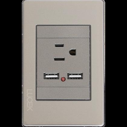 PLACA METALICA LUCEK CONTACTO + 2 ENTRADAS USB , MOD: BP05