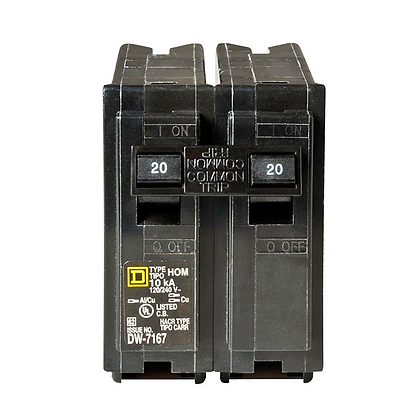 (UNI) BREAKER HOMELINE 20 AMP, MOD: DOBLE 2X20