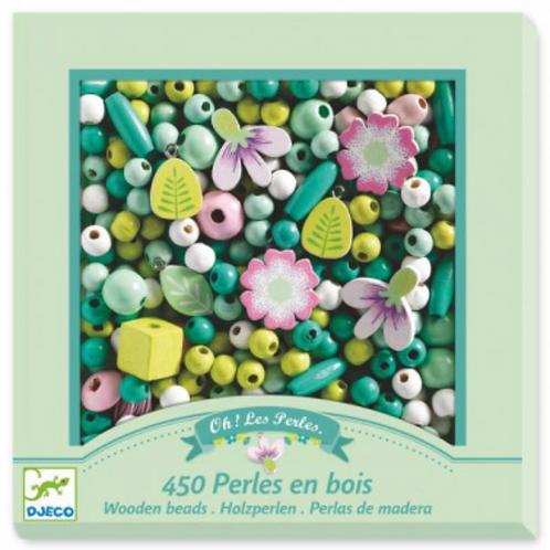 DJECO foison de perles PERLES EN BOIS FEUILLES ET FLEURS