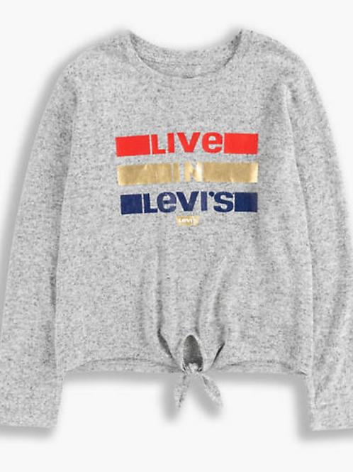 Levi's kids T-shirt sweat gris avec noeud