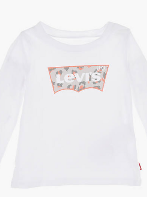 Levi's kids t-shirt blanc logo leopard