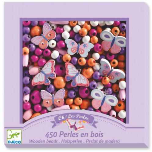 DJECO foison de perles PERLES EN BOIS PAPILLONS