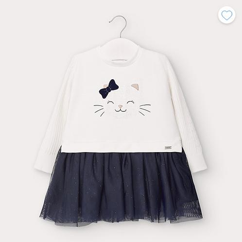 Mayoral robe bi-matière chat