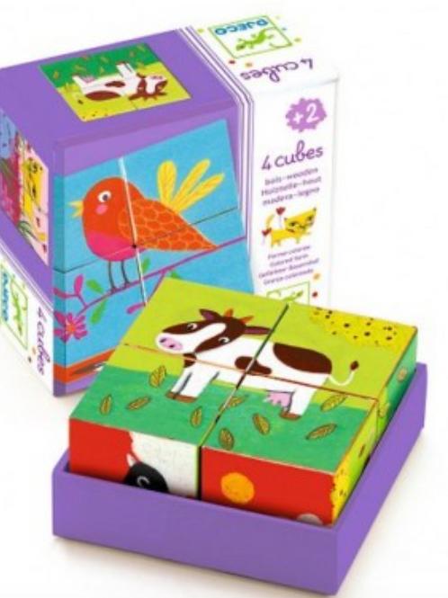 DJECO puzzle cubes en bois MEUH&CO
