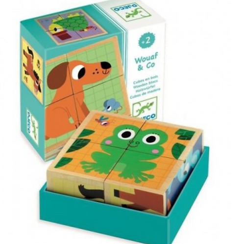 DJECO puzzle cubes en bois WOUAF