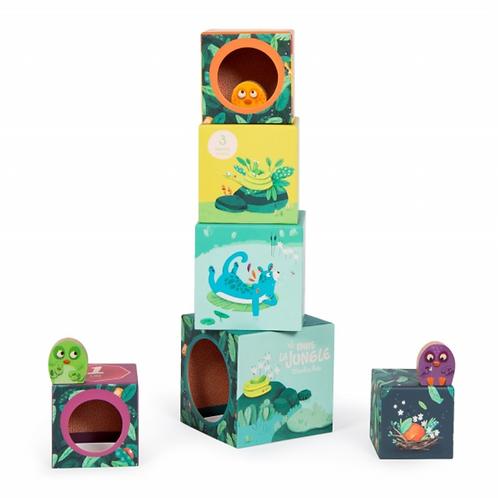 Moulin Roty Cubes d'activités empilables et 3 poussins Dans la Jungle