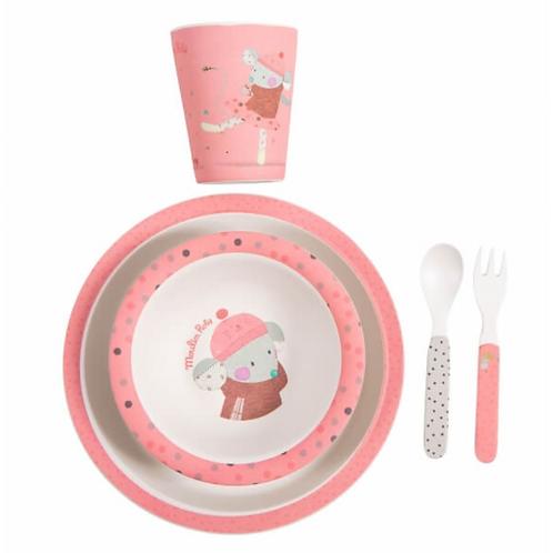 Moulin Roty set vaisselle rose Les Jolis Trop Beaux