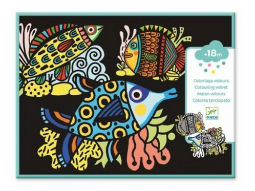 DJECO coloriages velours JOLIS POISSONS