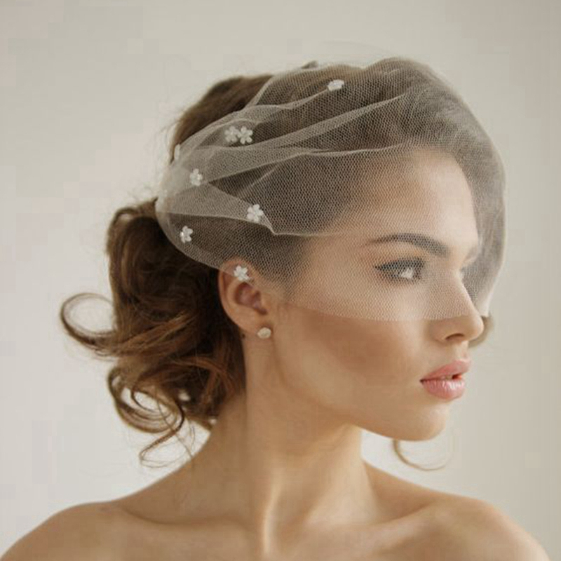 Silk-Tulle-Bandeau-Birdcage-Wedding-font-b-Veil-b-font-With-Flowers-Headband-font-b-Veil