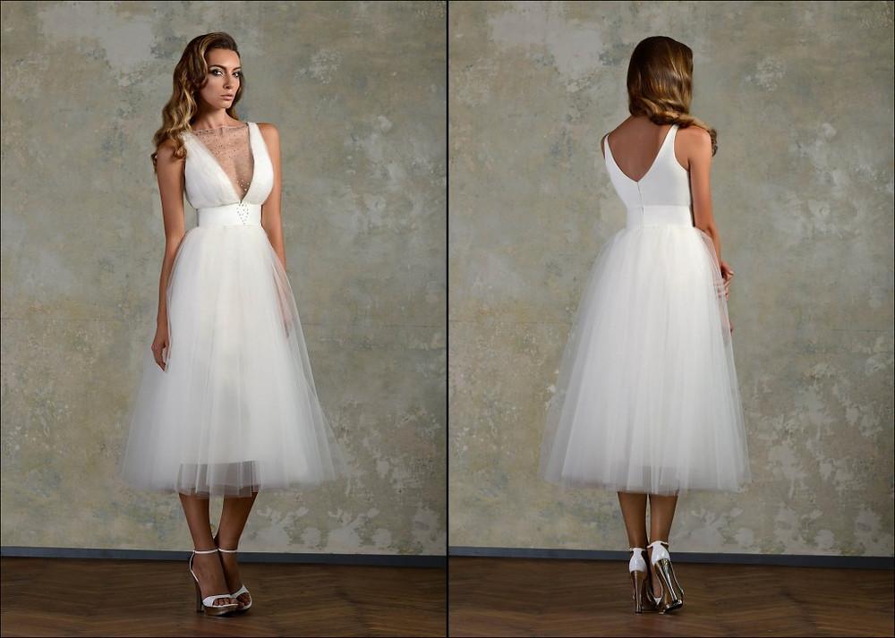 midi vestido novia