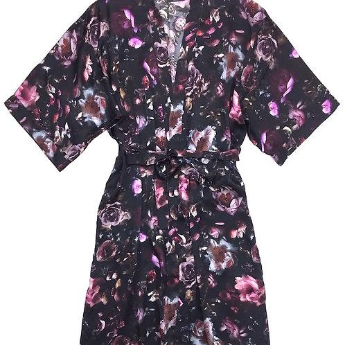 Samantha Chang Classic Silk Long Printed Kimono in Midnight Rose