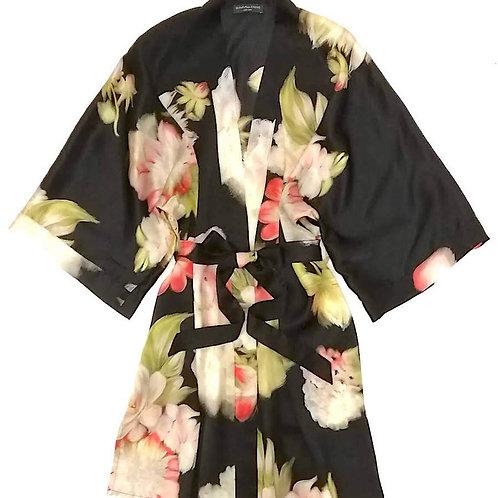 Samantha Chang Classic Silk Short Printed Kimono in Sienna