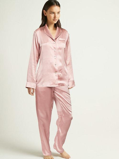 Ginia Fine Finishes Silk Pyjama in Rose