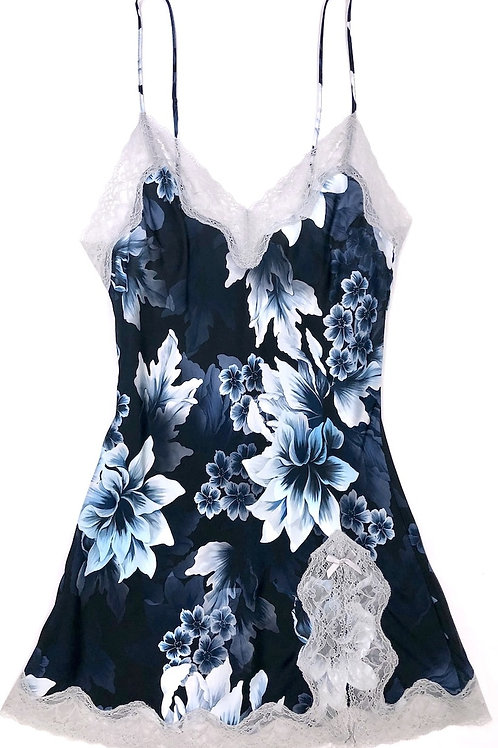 Samantha Chang Classic Silk Babydoll in Heavenly Blue