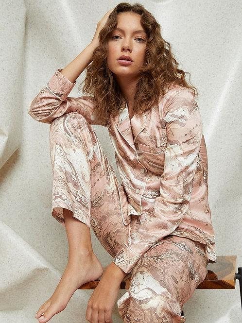 Ginia Silk Pyjama in Marble Print