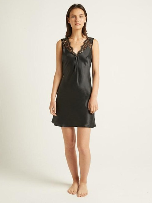 Ginia Pascale Silk Chemise in Black