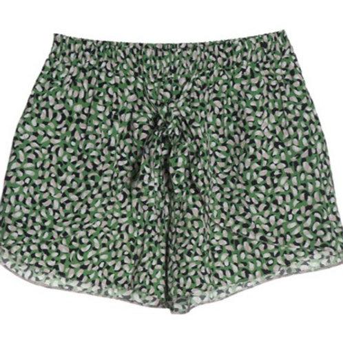 Else Monet Front Tie Shorts in Botanical Green