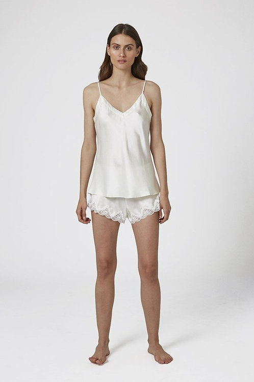Ginia Silk V-Neck Camisole in Cream