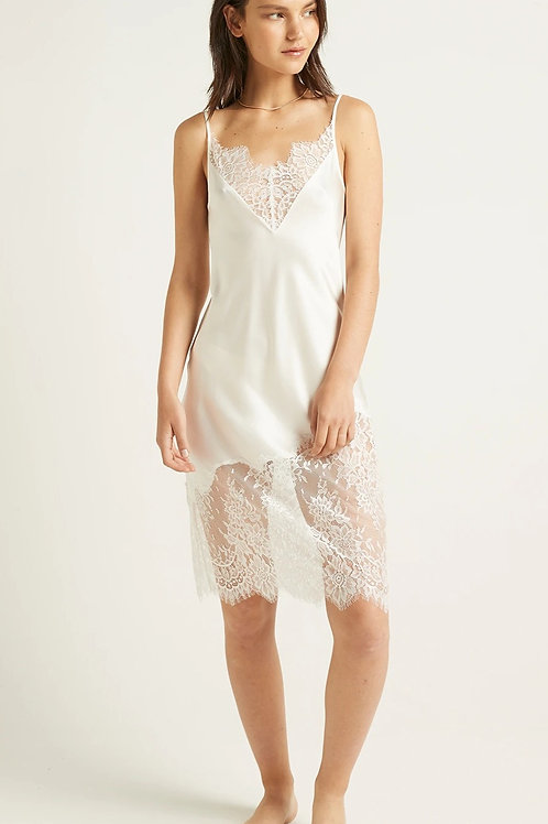 Ginia Silk Blaise Chemise in Ivory with Lace Trim
