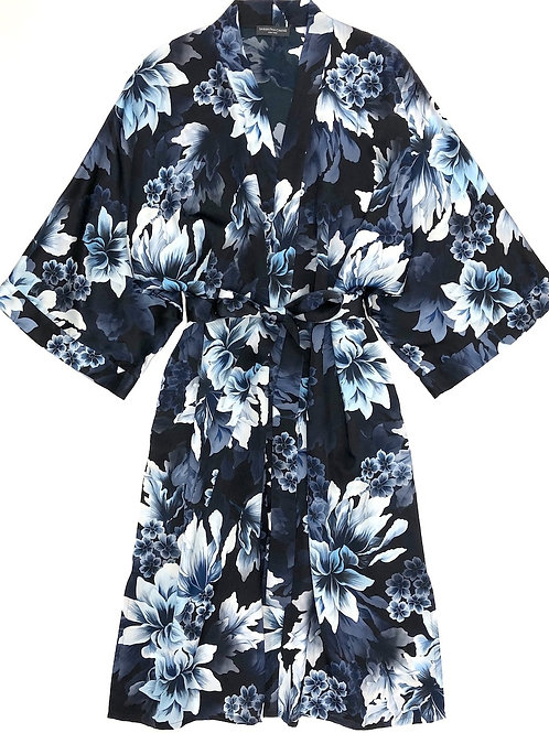 Samantha Chang Classic Silk Printed Kimono in Heavenly Blue
