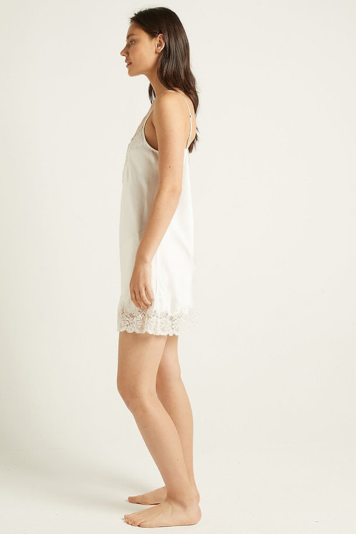 Ginia Silk Chemise with Lace in Ivory