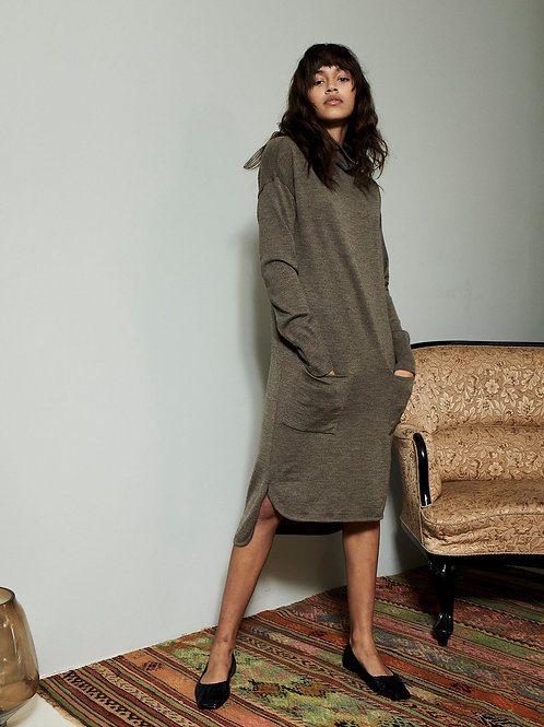Underprotection Kirsty Merino Wool Dress in Warm Taupe