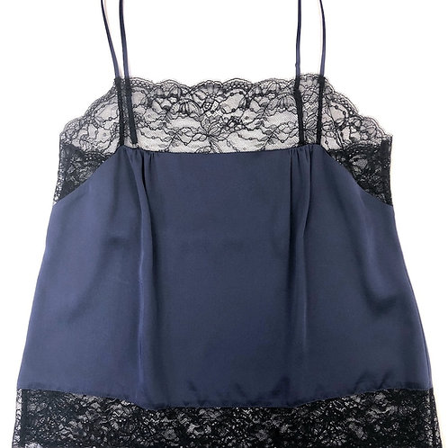Samantha Chang Silk with Leavers Lace Pia Camisole in Midnight Blue