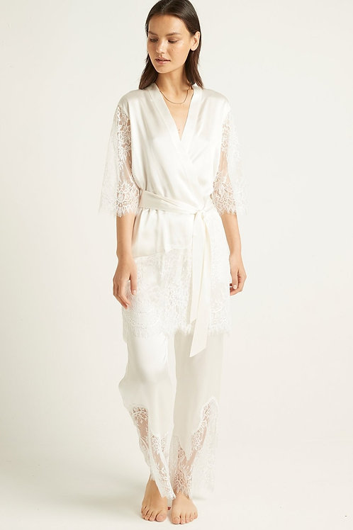 Ginia Blaise Silk Robe in Ivory w/Ivory Lace