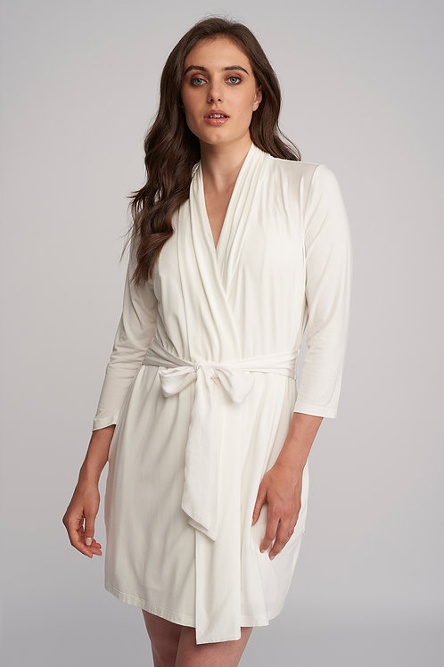 Fleur't Iconic Short Robe with Silk Tie