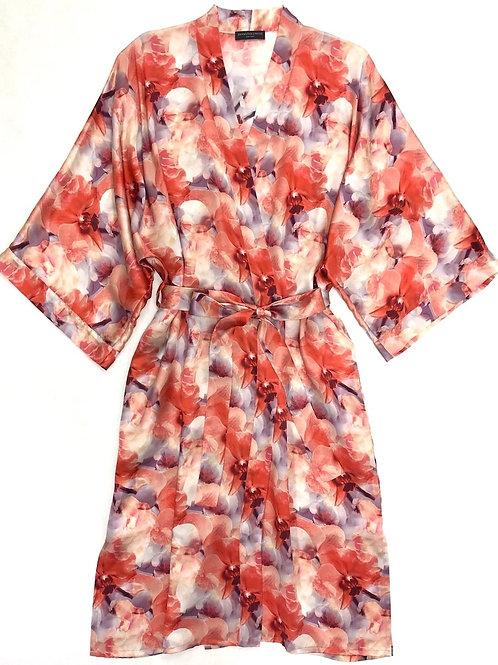 Samantha Chang Classic Silk Long Printed Kimono in Sunny Orchid