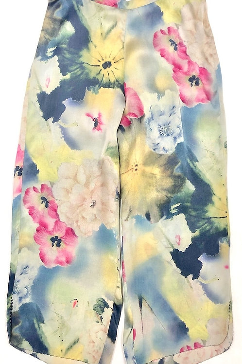Samantha Chang Classic Silk Cropped PJ Pant in Koi Garden