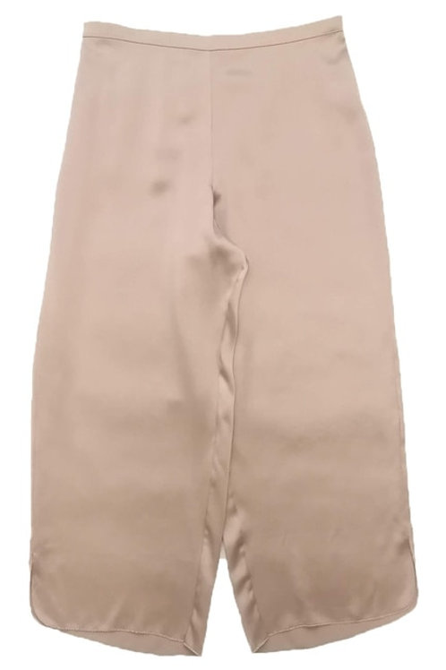 Samantha Chang Classic Silk Cropped PJ Pant in Powder Nude