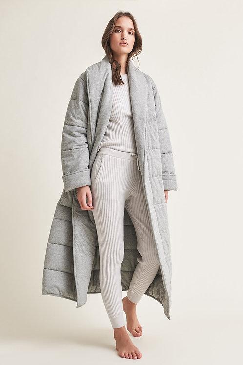 Skin Sierra Quilted Robe in Heather Gray