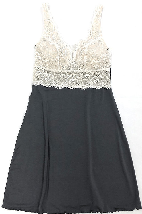 Samantha Chang Built Up Chemise in Slate w/Ivory Lace