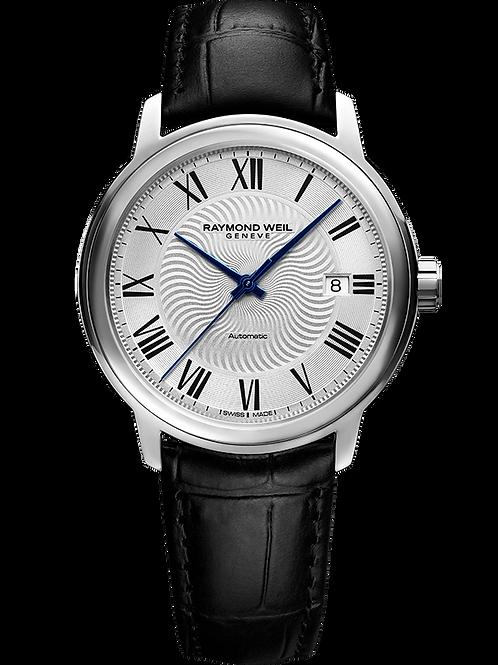 Maestro Men's Automatic Silver Dial Black Leather