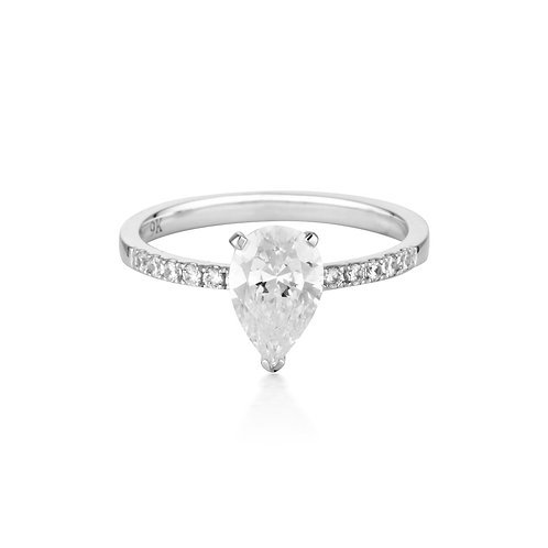 Pear Cut and Round Brilliant 1.5ct Engagement Ring in White Gold