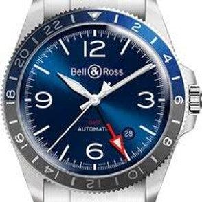 BR V2-93 GMT blue on black rubber strap