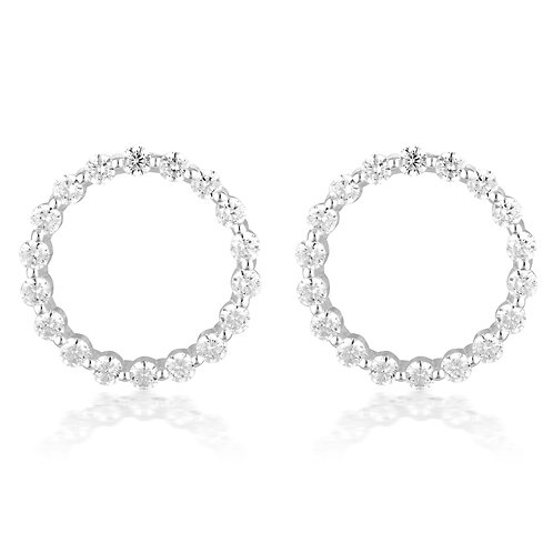 LARGE CIRCLE OF LIFE EARRING - SILVER