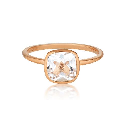 Georgini Doros White Topaz Rose Gold Ring