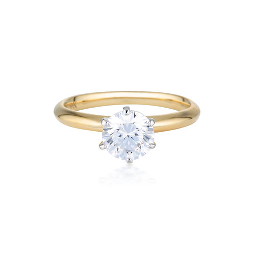 Georgini Gold Round Brilliant Cut 1.25ct Solitaire with Knife Edge Band in Gold