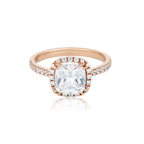 GEORGINI GOLD CUSHION CUT HALO 1.5CT ENGAGEMENT RING IN ROSE GOLD