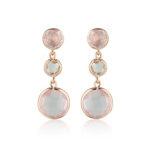 Georgini Diantha Rose Quartz Drop Earrings