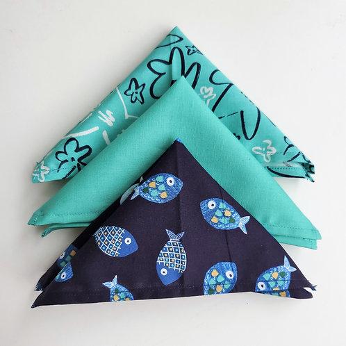 THE QUEEN V - 'Tropical Ocean Blue' Handkerchief Trio