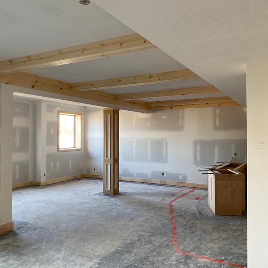 Basement rec room ceiling
