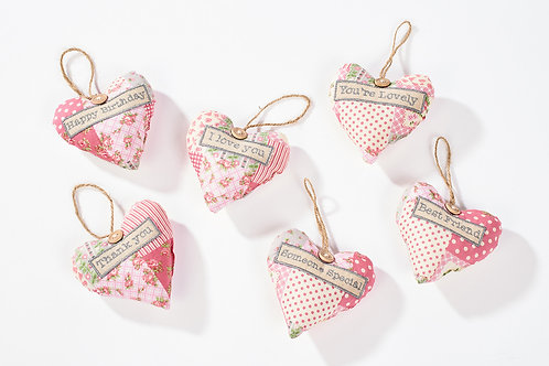 Patchwork Fabric Heart Hangers