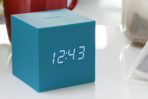 Gingko Gravity Cube Click Clock - Teal