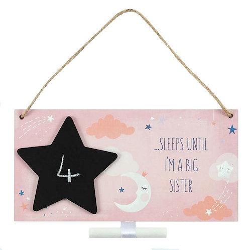 Countdown until I'm a big sister plaque