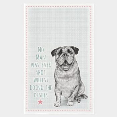 East of India No man was ever shot Bulldog Tea Towel