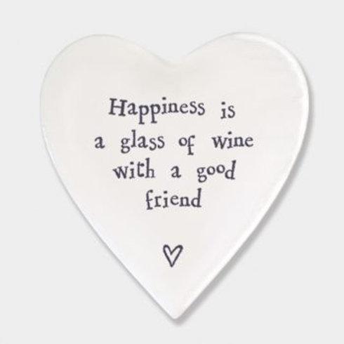 Happiness glass wine... Heart Coaster