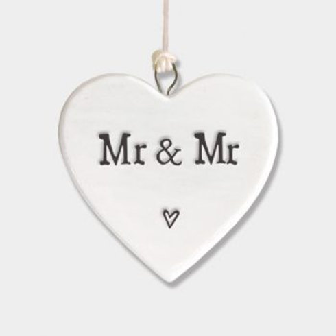 East of India Small Hanging Heart - Mr and Mr